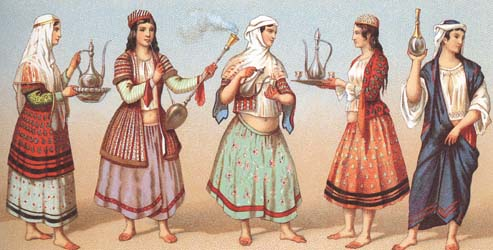 Female costumes of Persia of 19-th centuty.