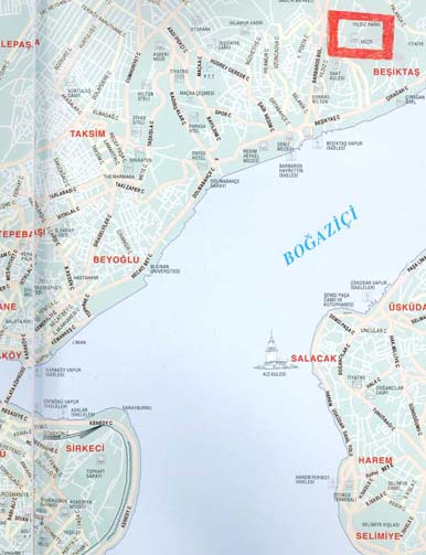The Map of Stambul. Yildiz-Kiosk is marked with red rectangle.