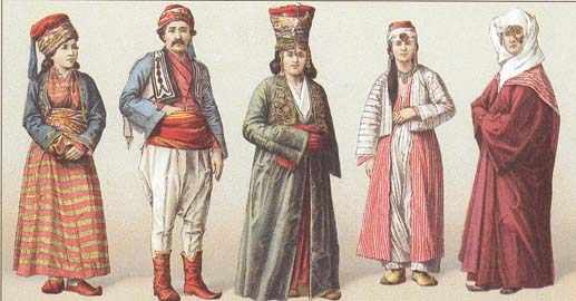 Male & female costumes of Turkey of 19-th centuty.
